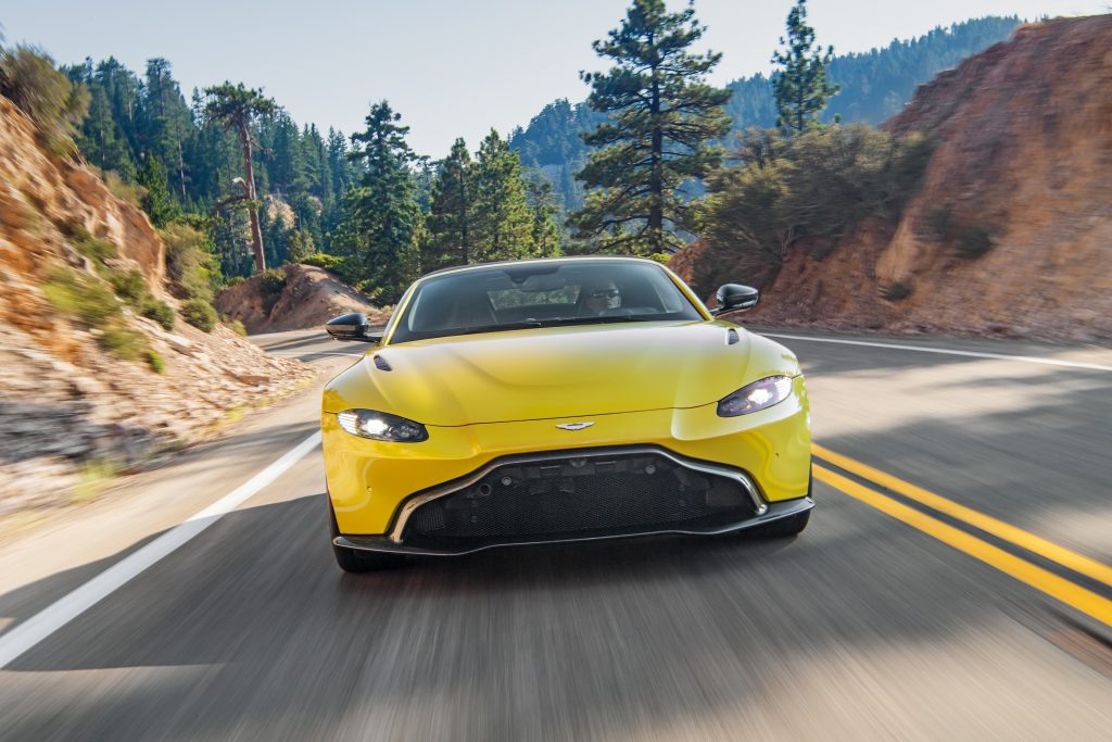 Aston Martin Vantage Roadster Yellow Tang front action