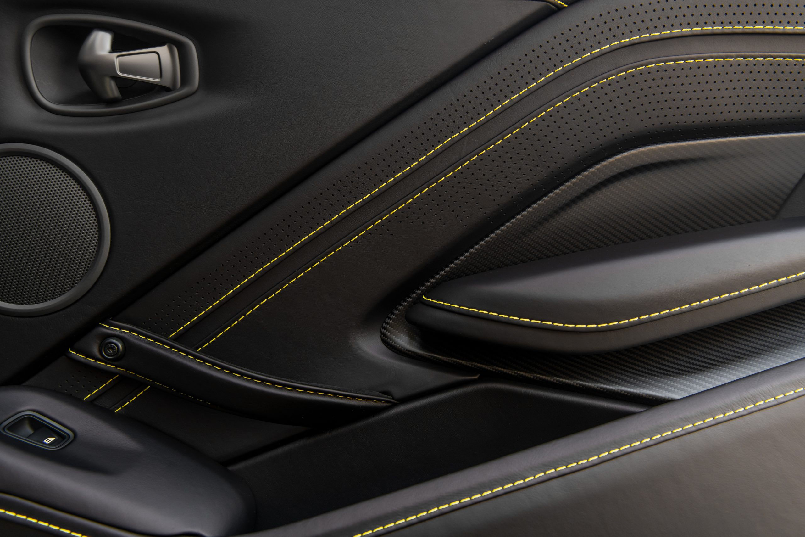 Aston Martin Vantage Roadster Yellow Tang interior detail