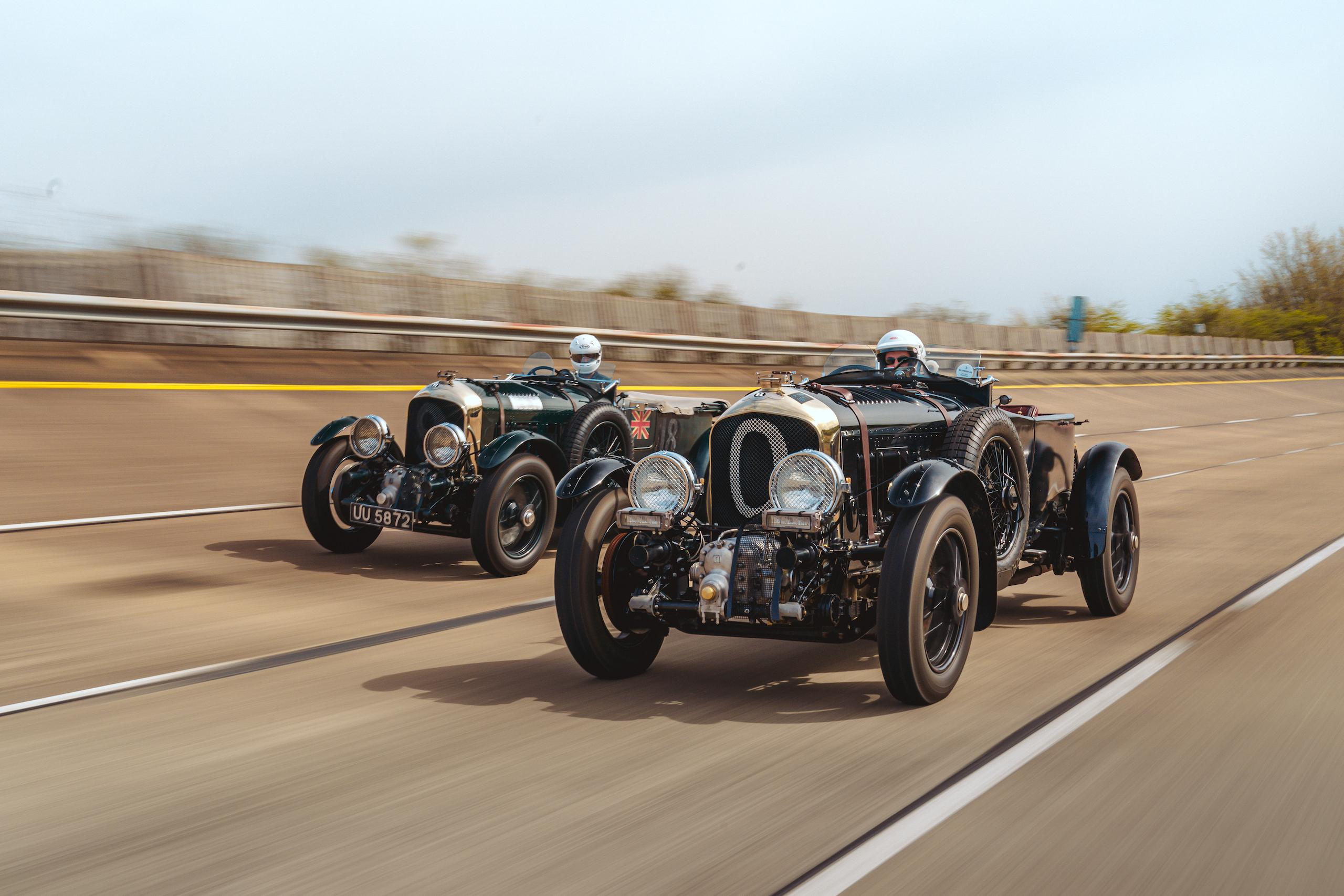 Blower Bentley racing action front three-quarter