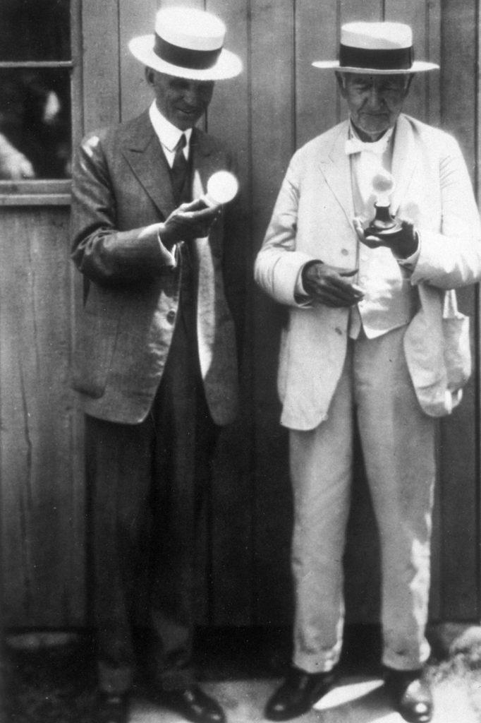 Henry Ford Thomas Edison Examining Light Bulbs