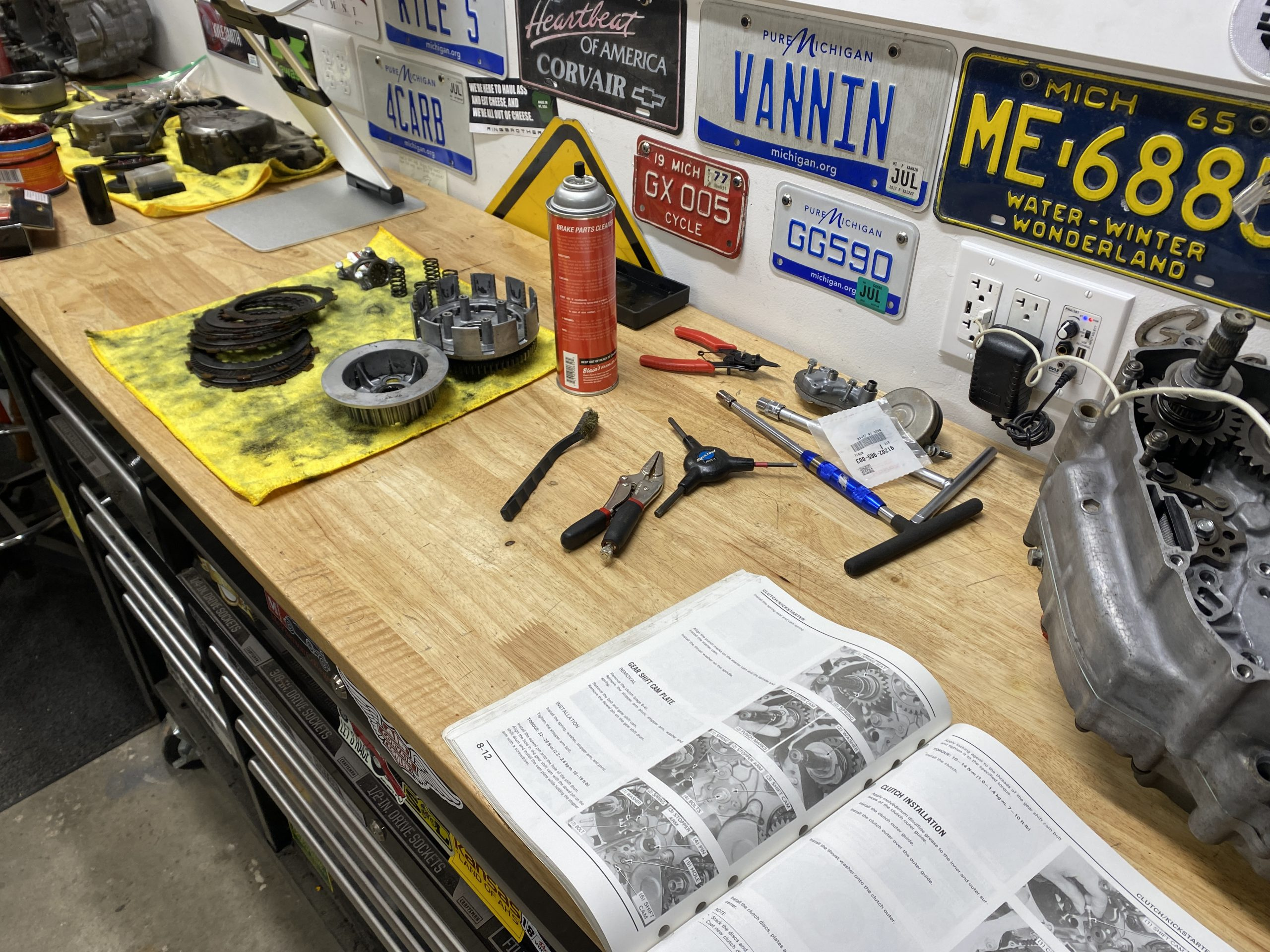 motorcycle engine parts on table