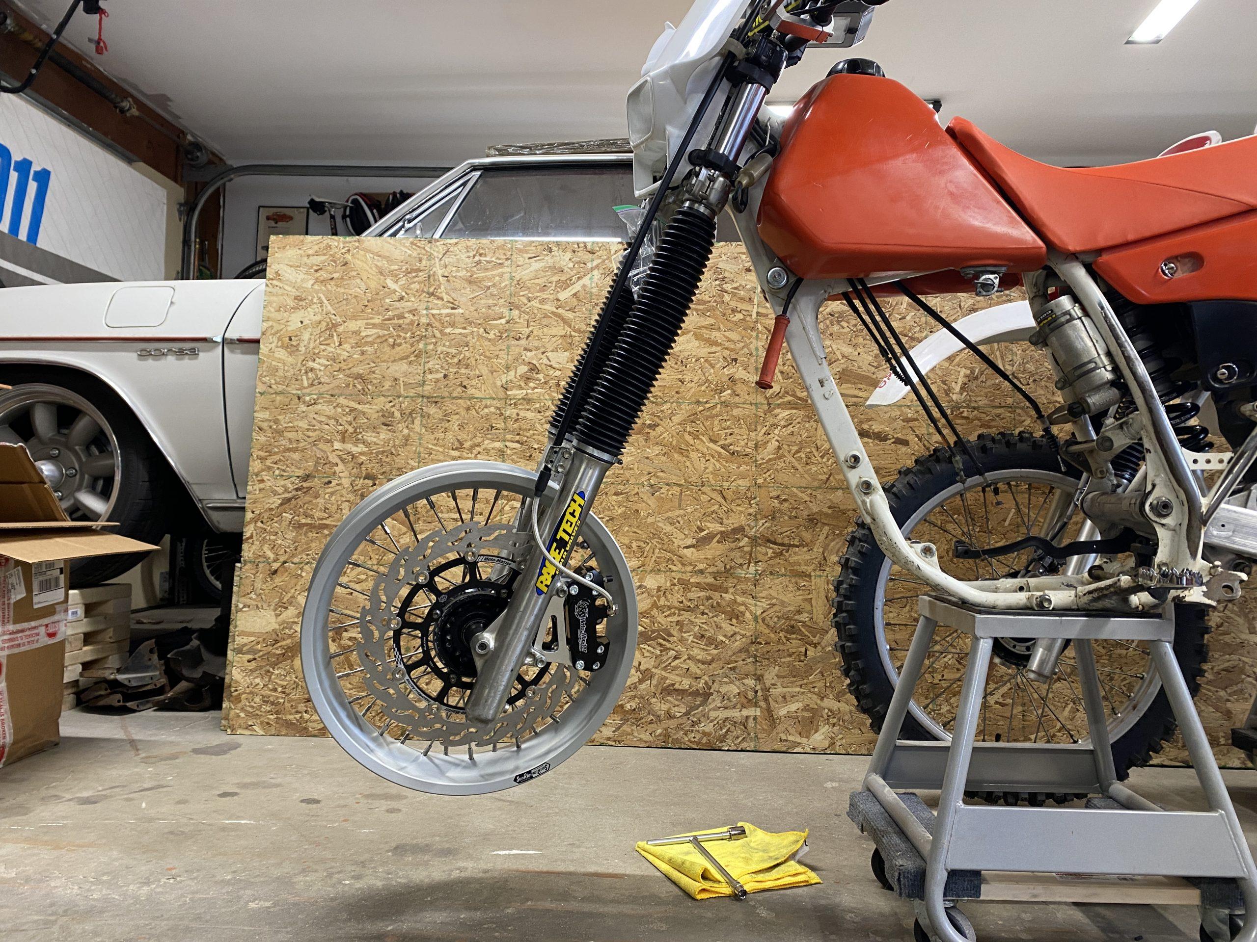 Honda XR250 front end supermoto setup wide