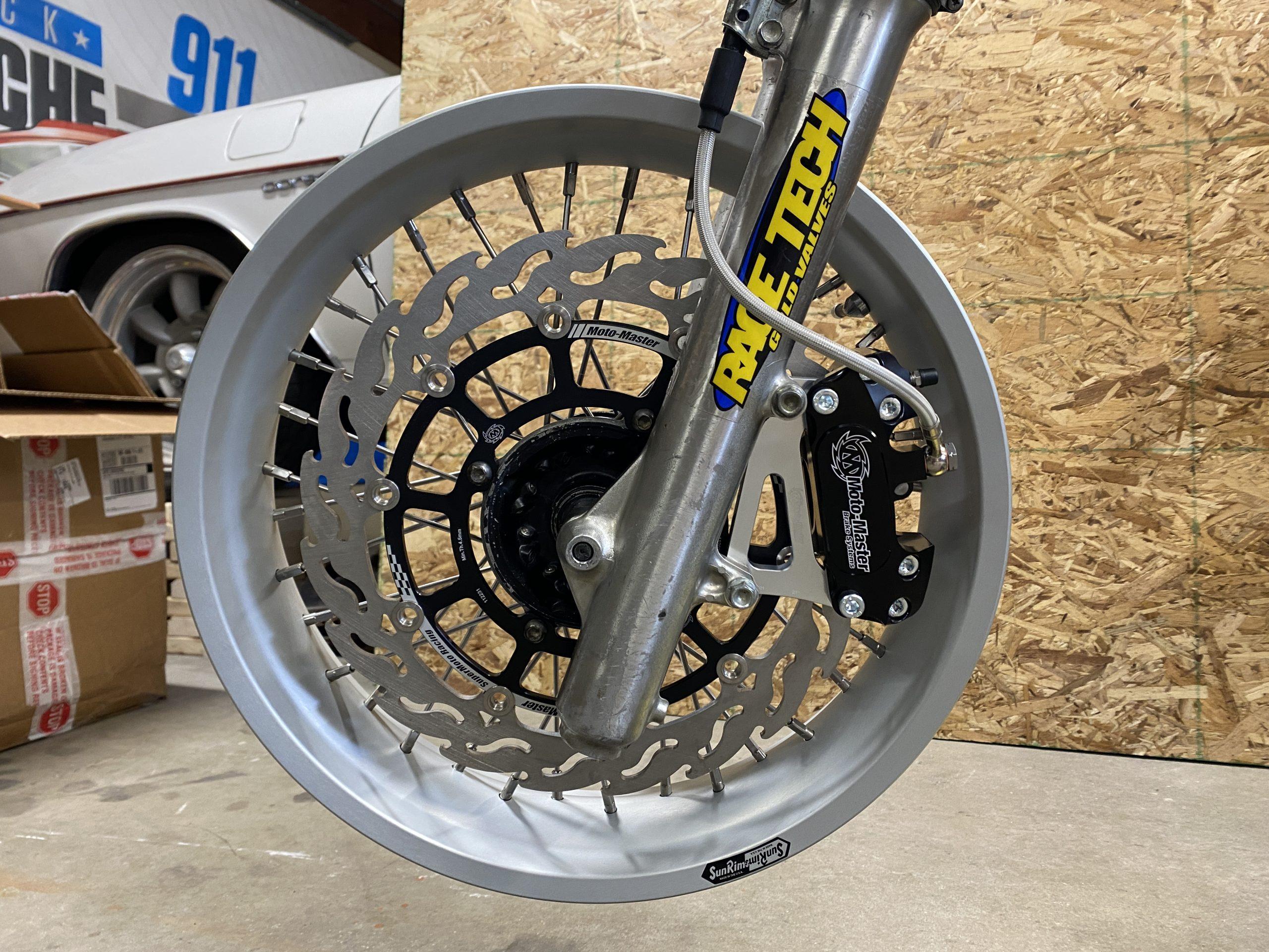 Honda XR250 front end supermoto setup