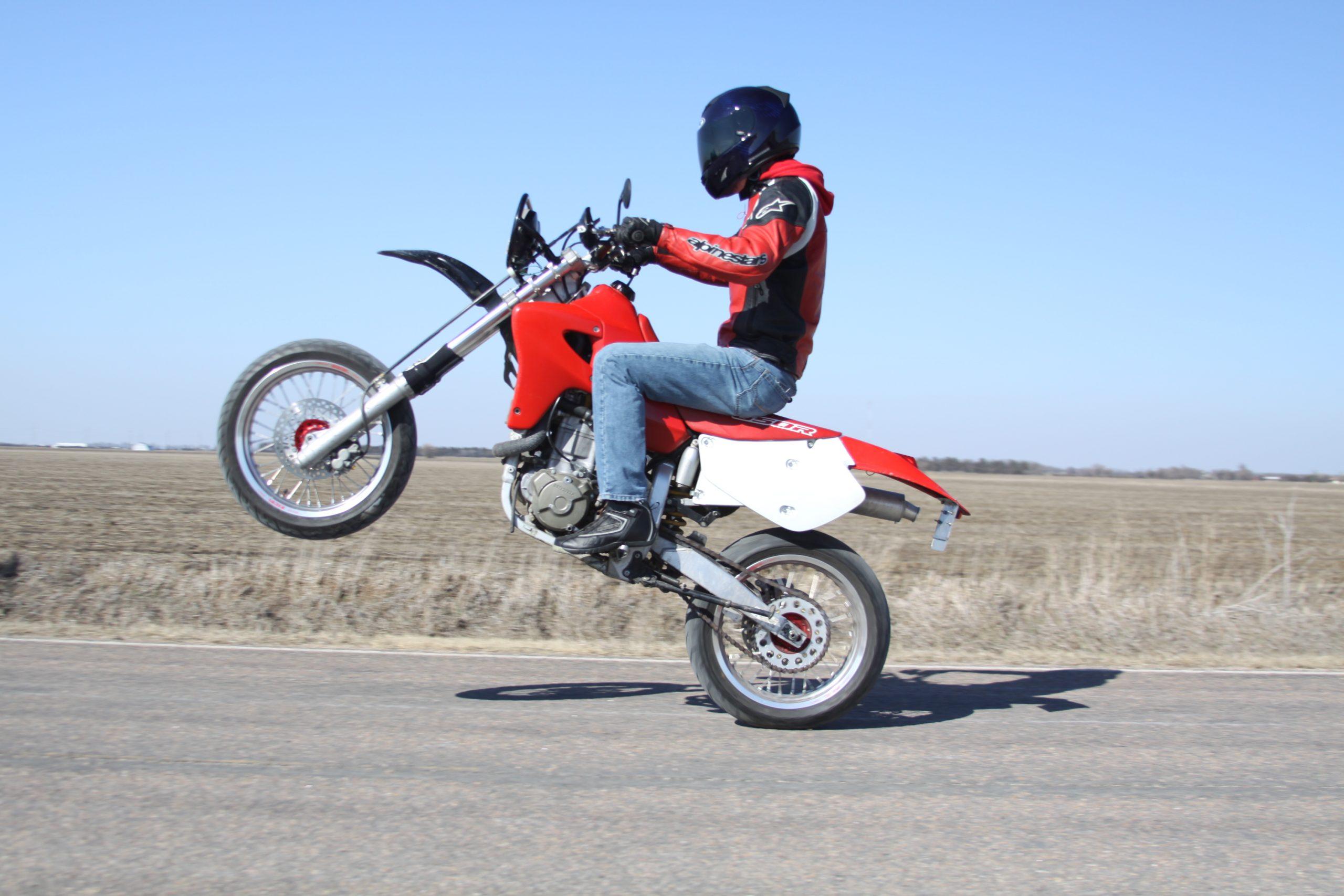 XR650R supermoto wheelie
