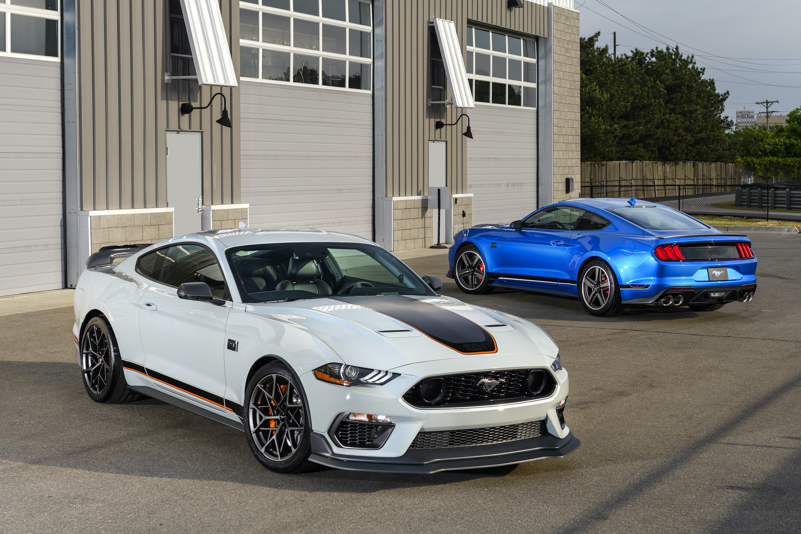 2021 Mustang Mach 1 white front three-quarter with blue