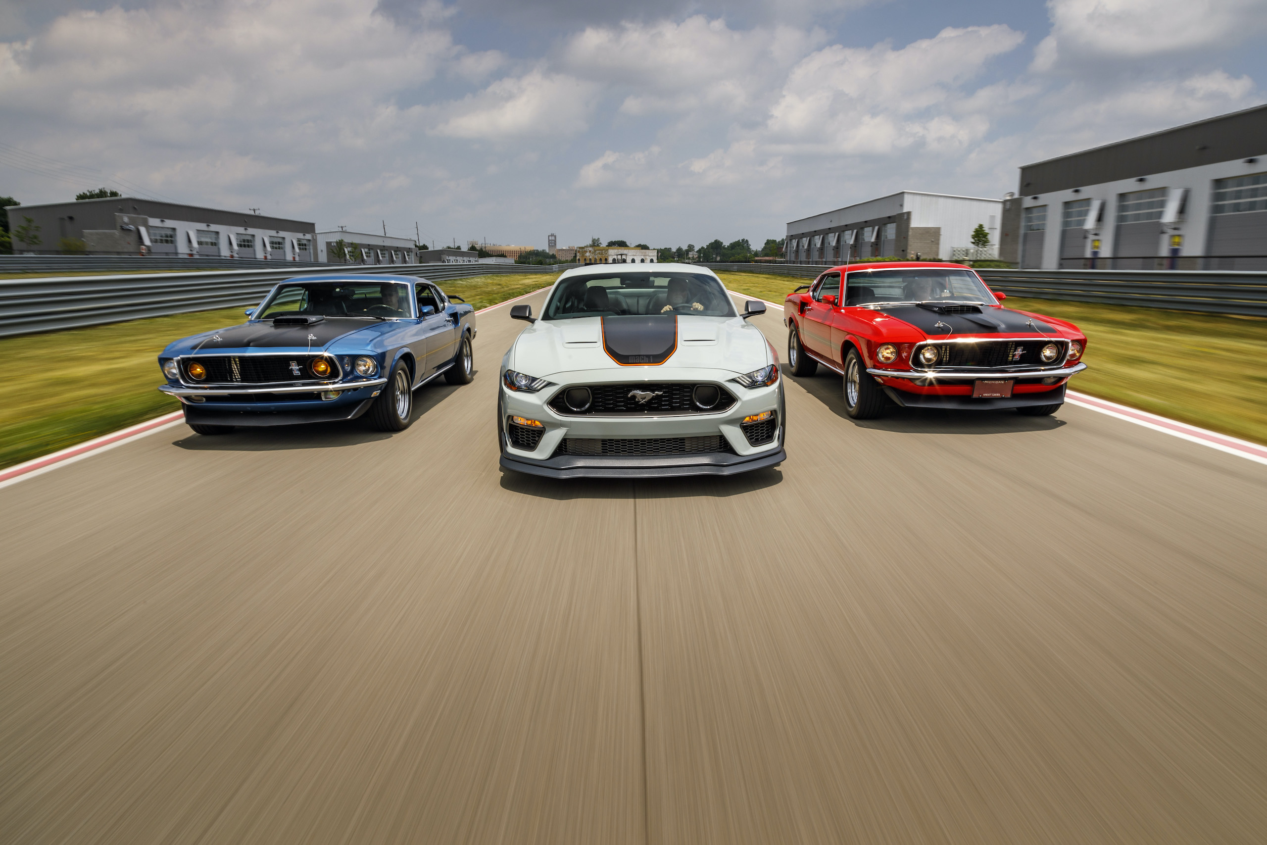 2021 Mustang Mach 1 white with classics on track action front