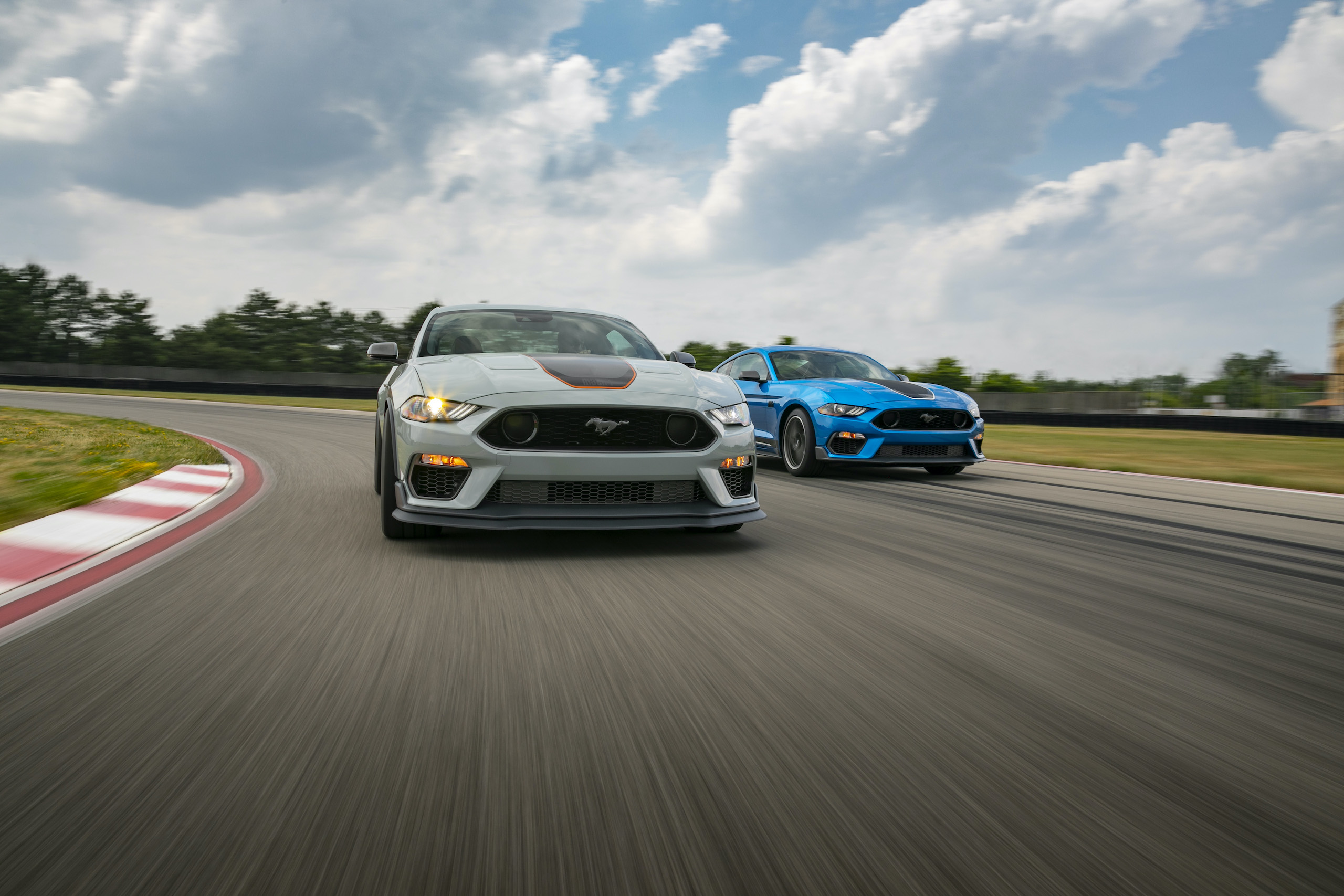 2021 Mustang Mach 1 white and blue on track action
