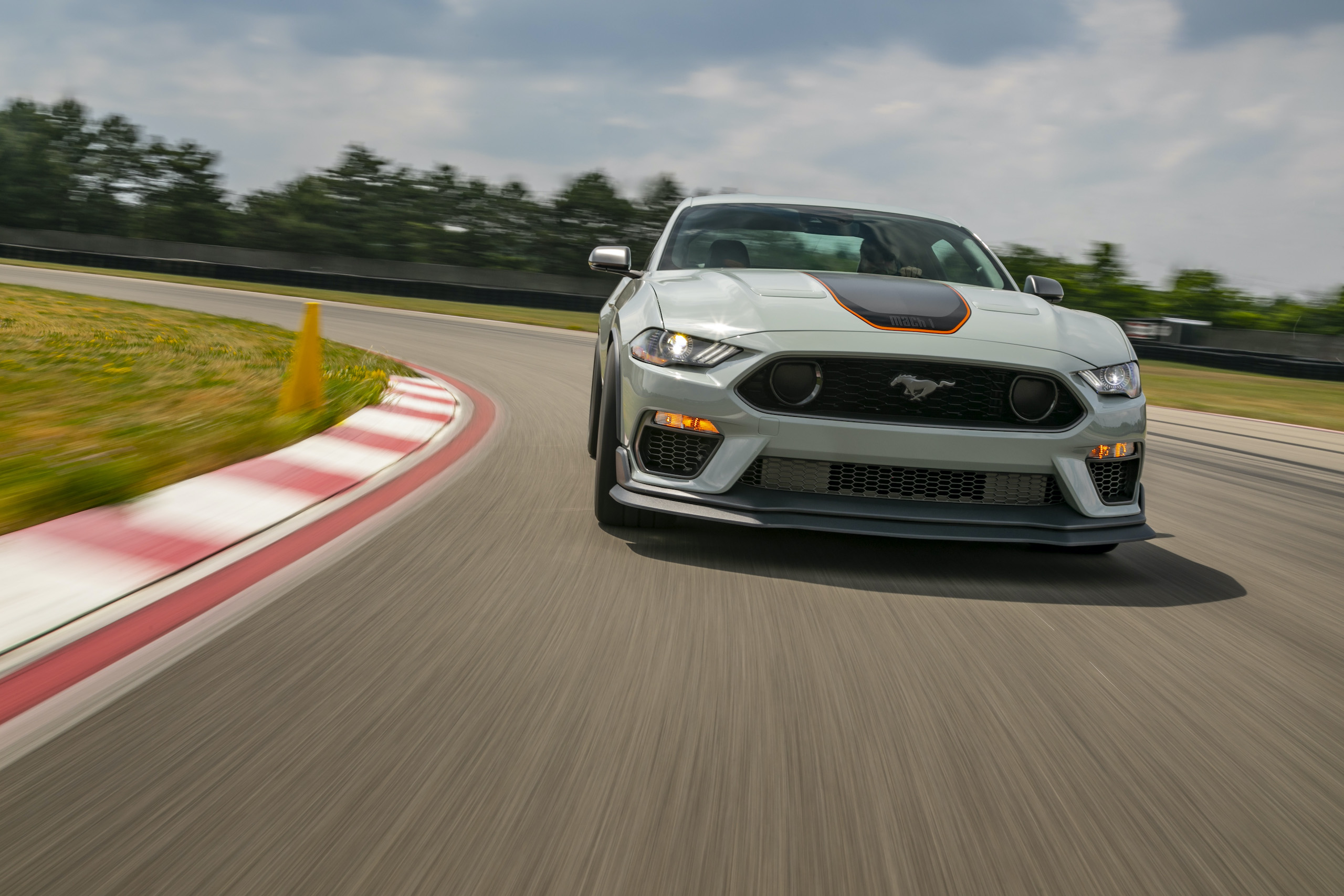 2021 Mustang Mach 1 white front on track action