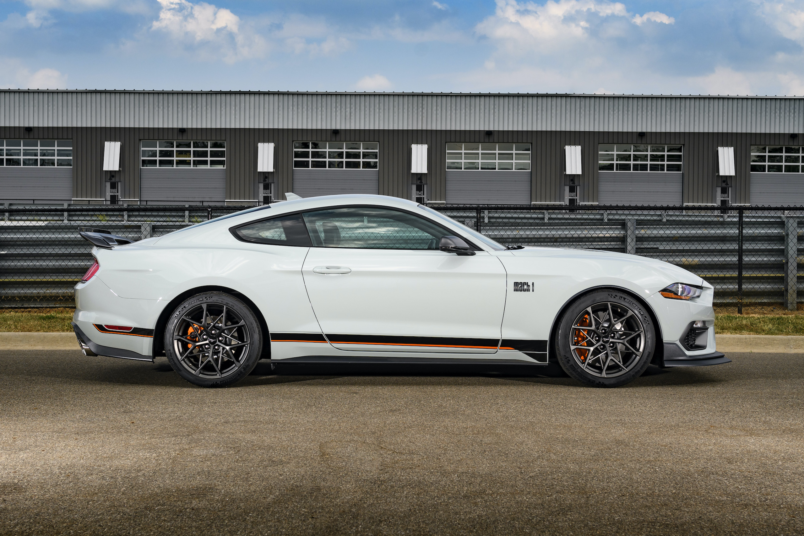 2021 Mustang Mach 1 white side profile