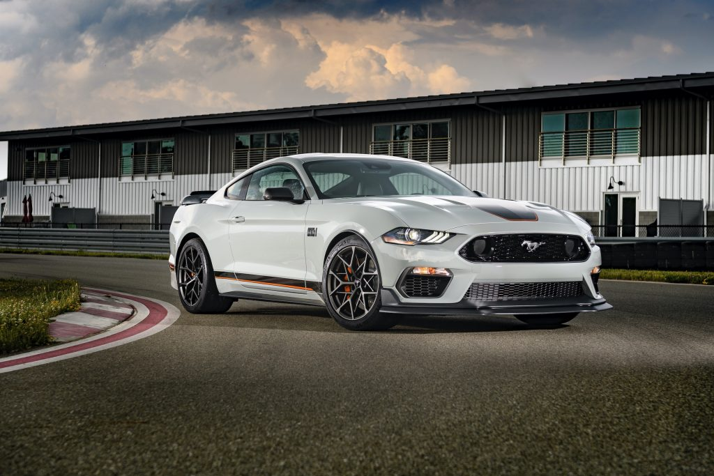 2021 Mustang Mach 1 white front three-quarter