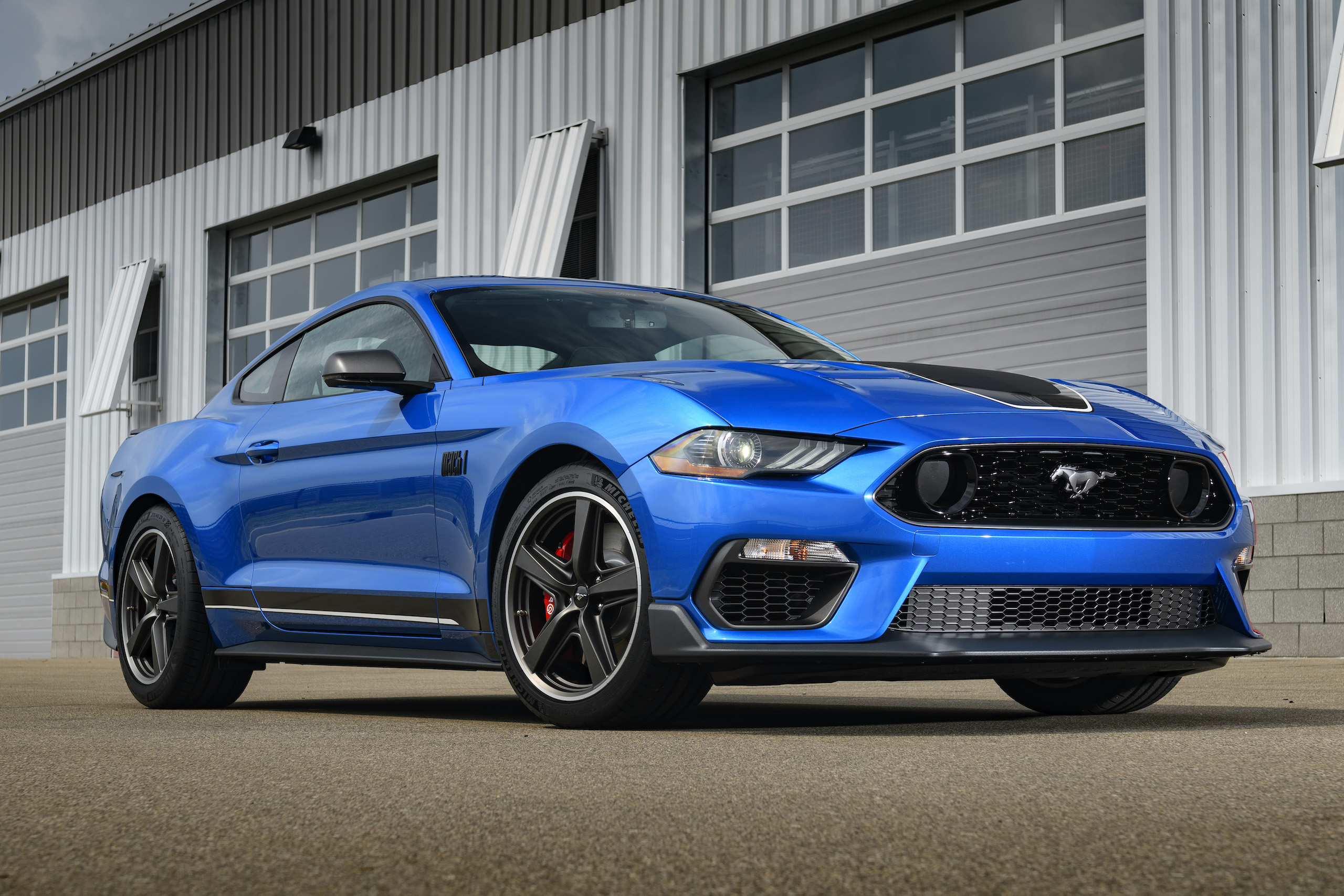 2021 Mustang Mach 1 blue front three-quarter