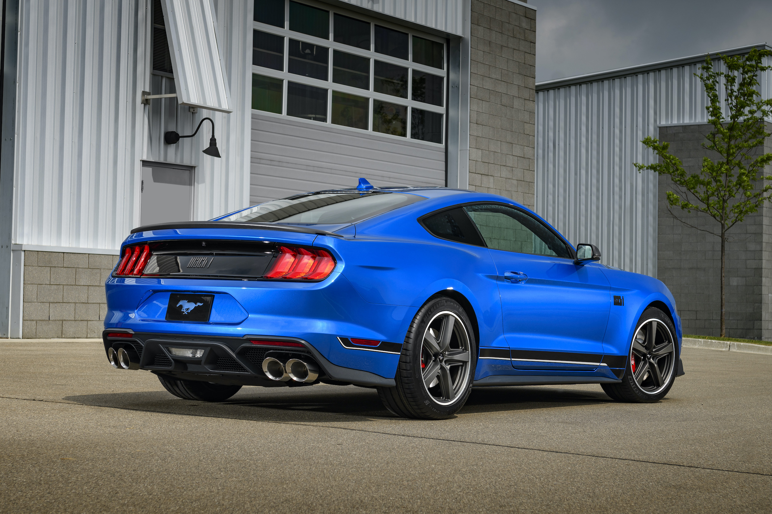 2021 Mustang Mach 1 blue rear three-quarter