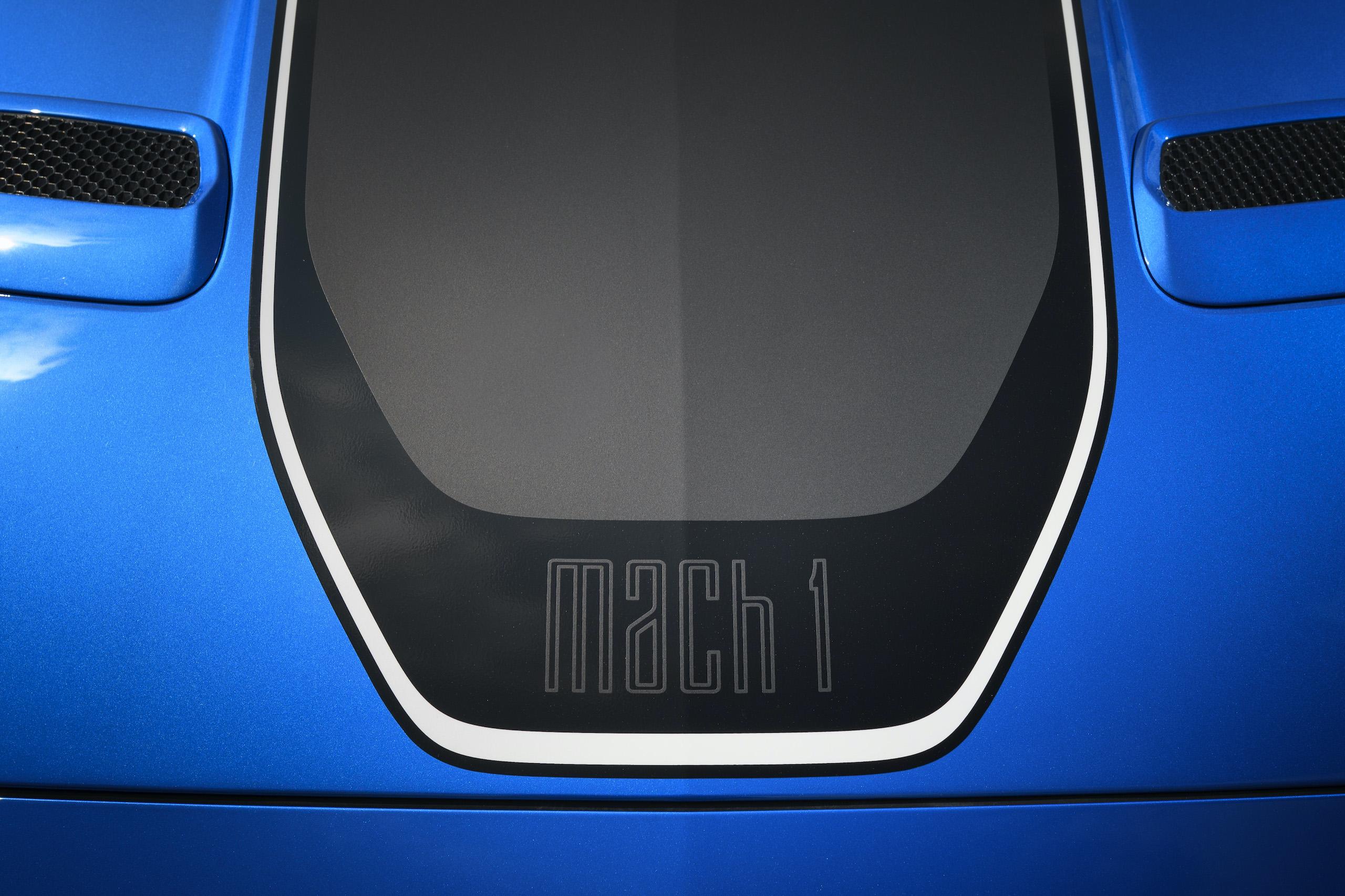 2021 Mustang Mach 1 blue hood detail