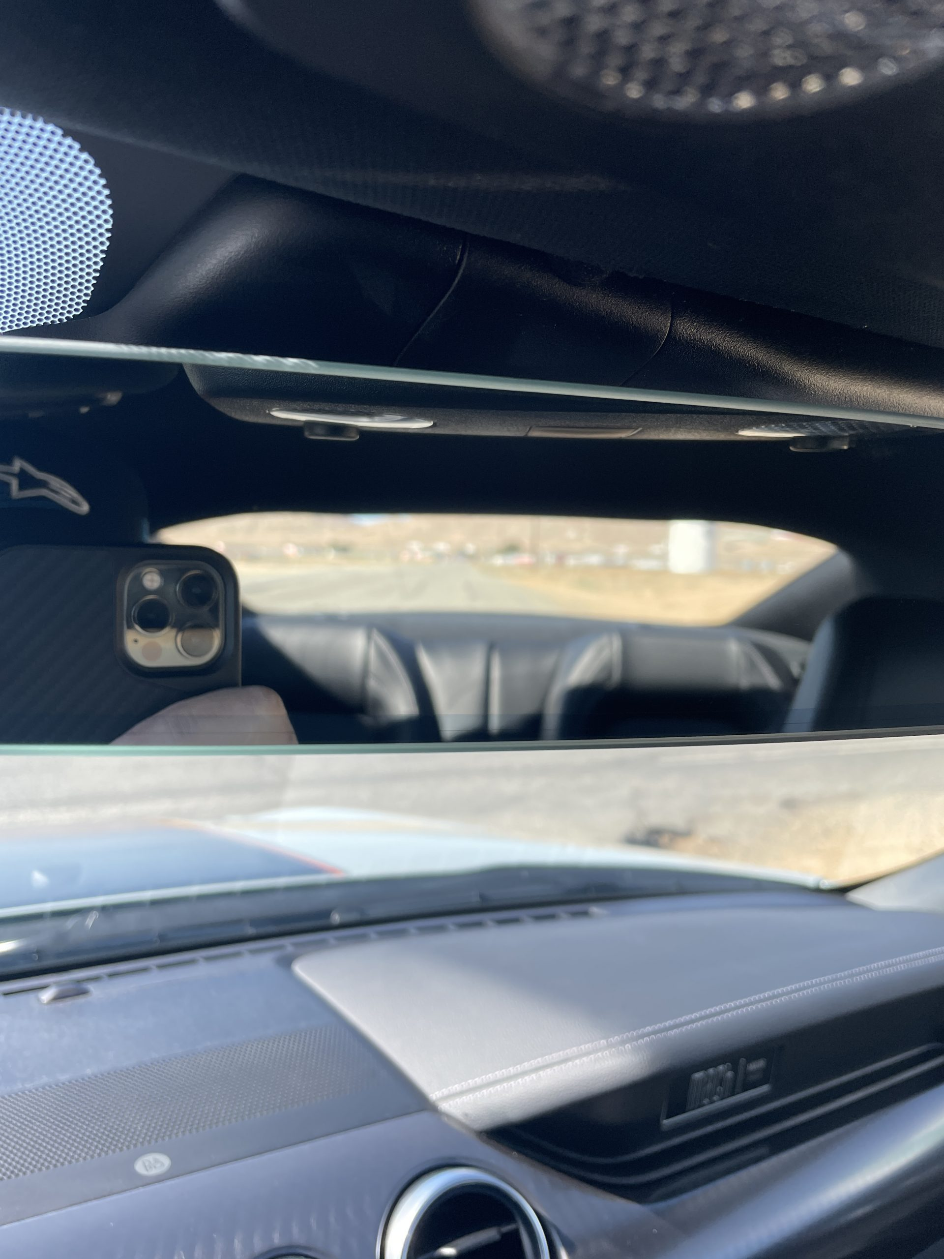 New Mustang Mach 1 interior rear view mirror vantage