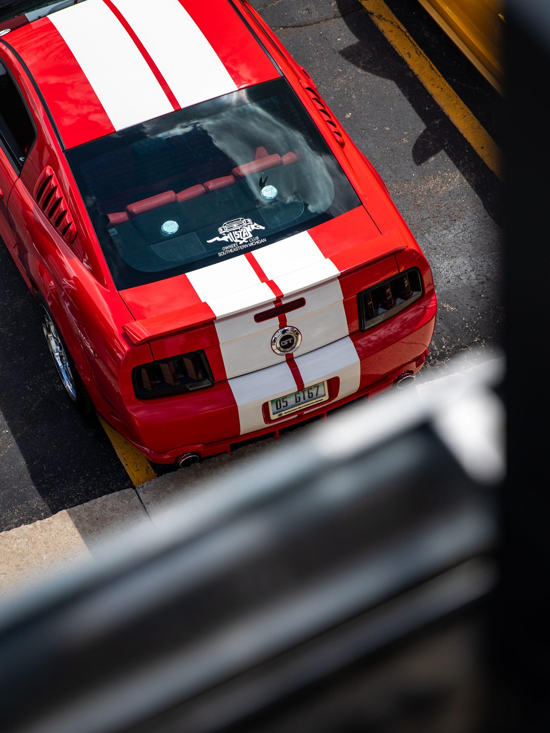 Mustang Week parking lot overhead