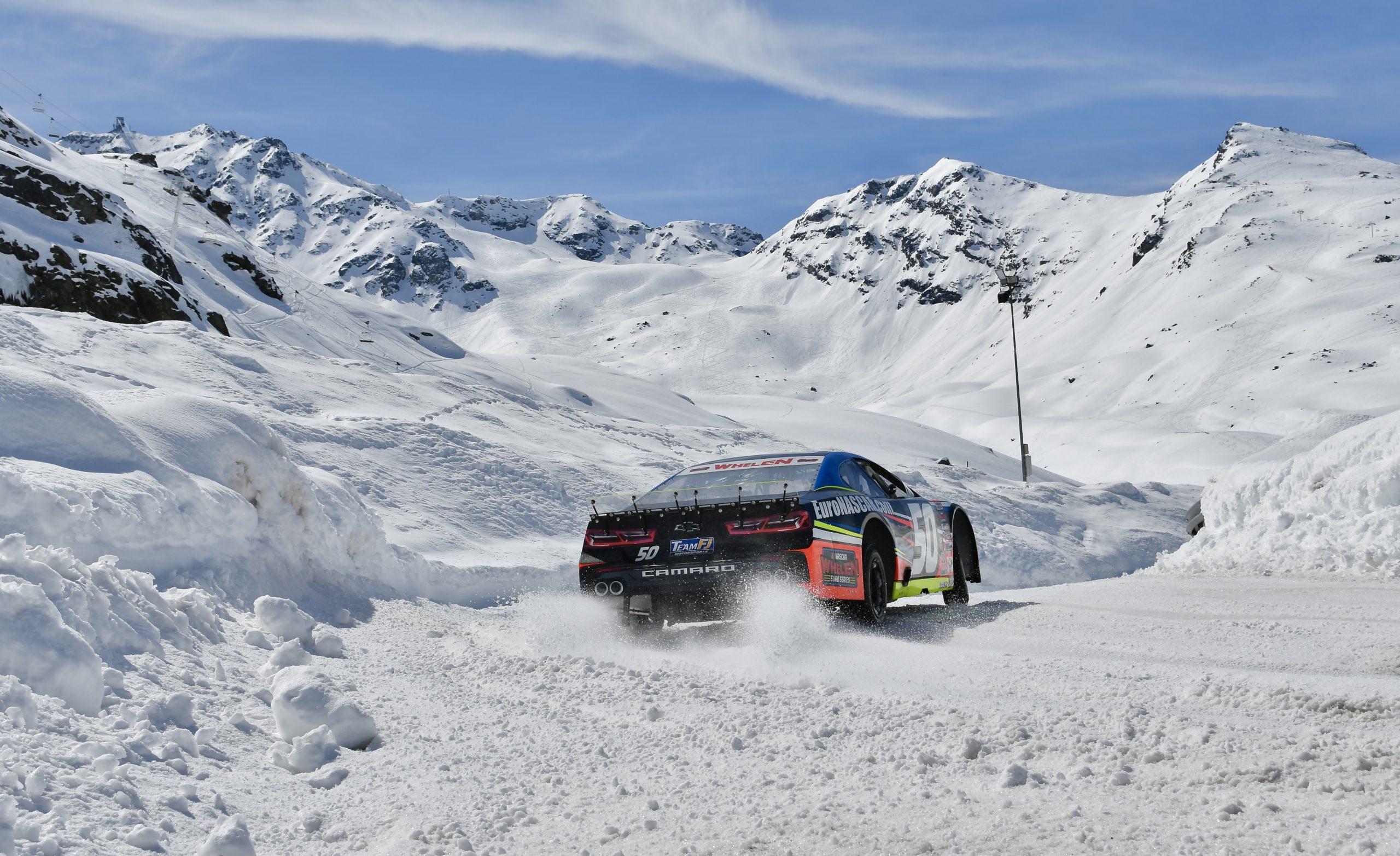 NASCAR on ice rear three-quarter action