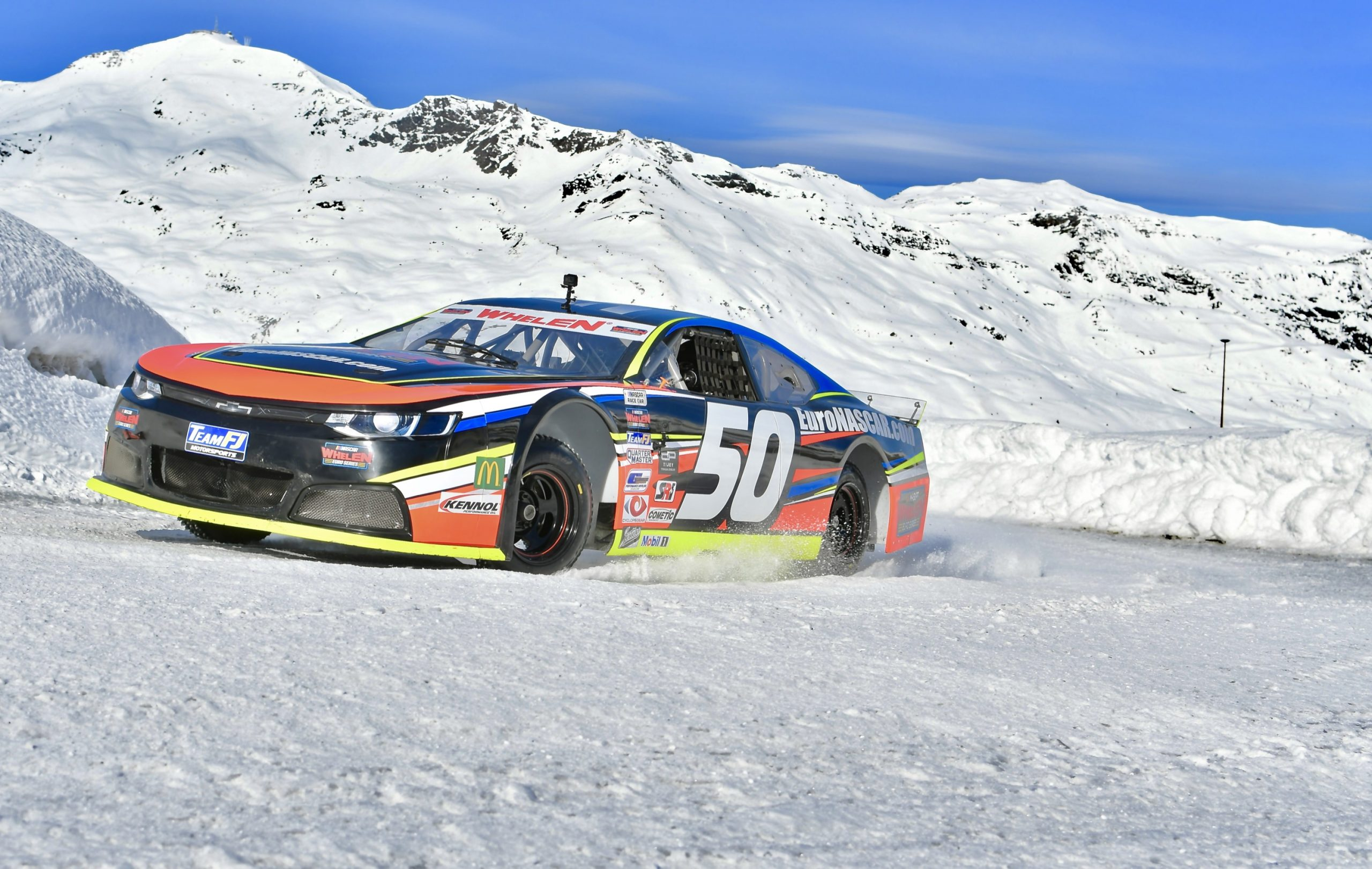NASCAR on ice front three-quarter action
