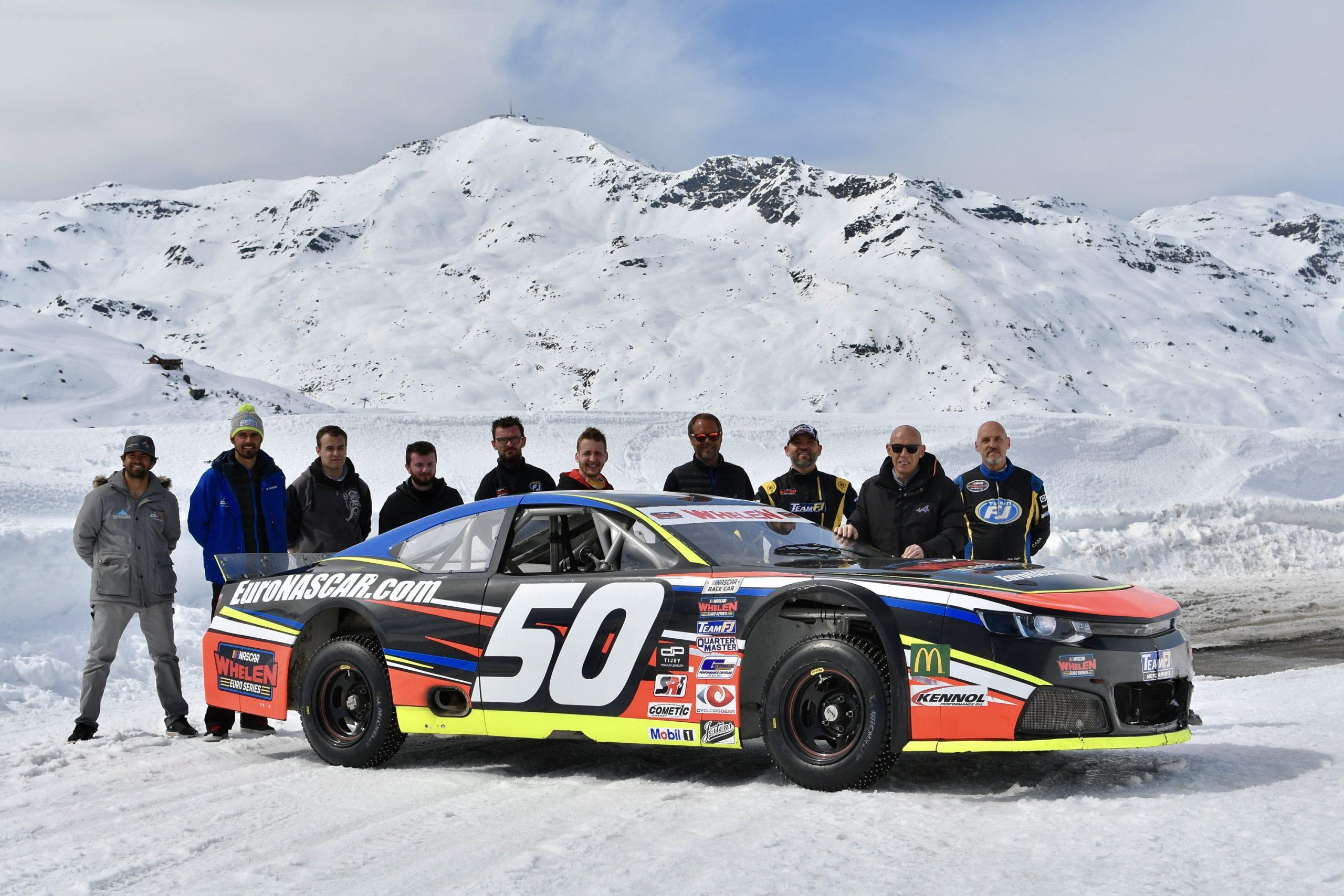 NASCAR on ice front three-quarter team
