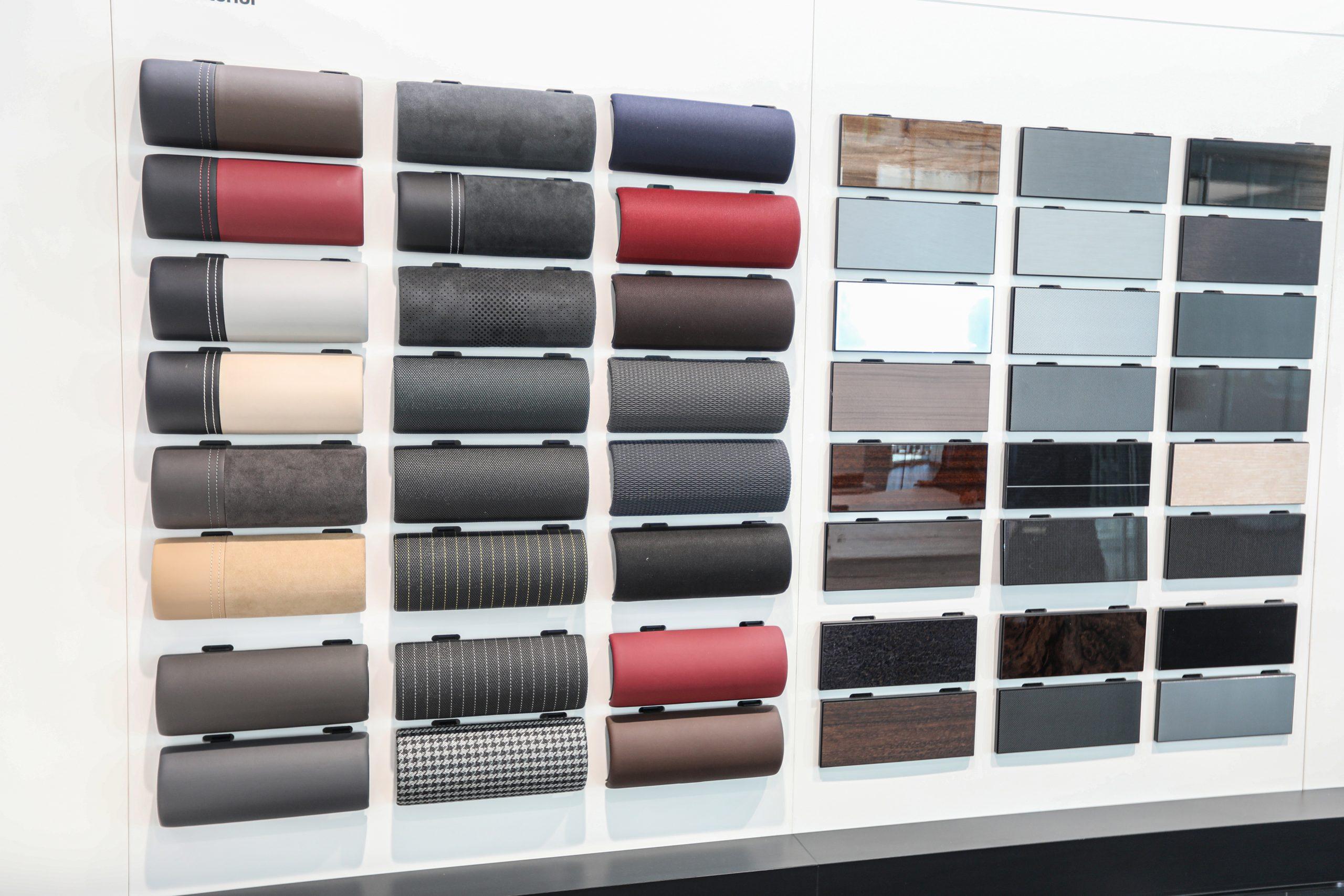 Porsche Design Gallery material swatches