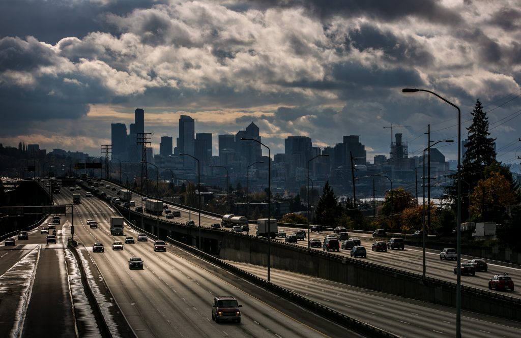Seattle Interstate and city skyline
