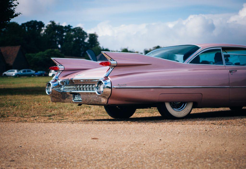 Vintage Cadillac Fins Coupe De Ville Pink