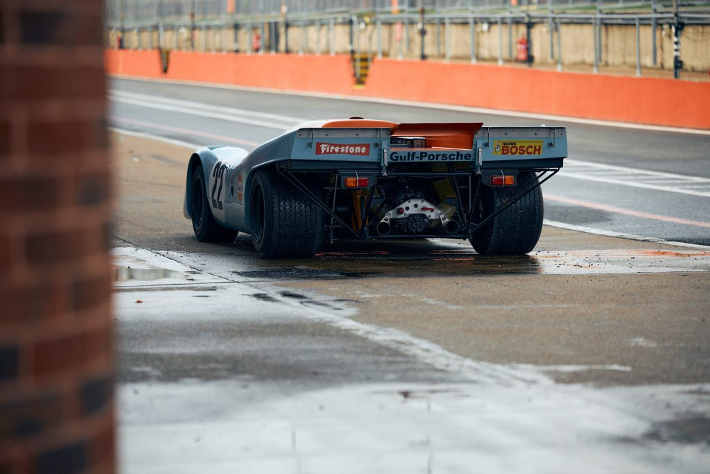 Porsche 917 K racecar rear three-quarter track