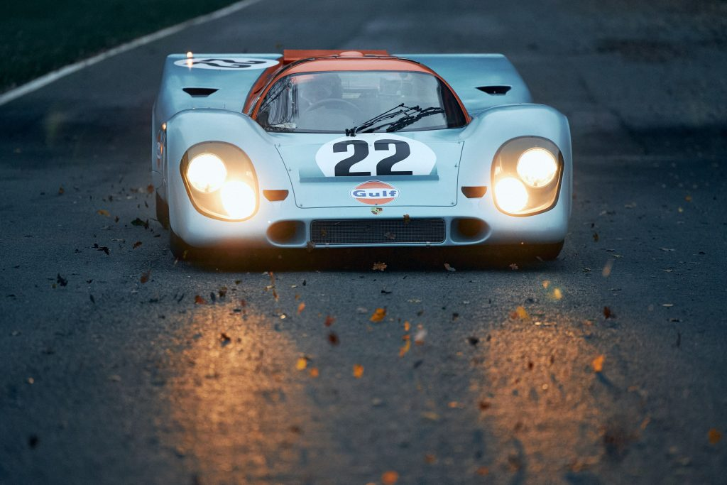 Porsche 917 K racecar front dusk lights
