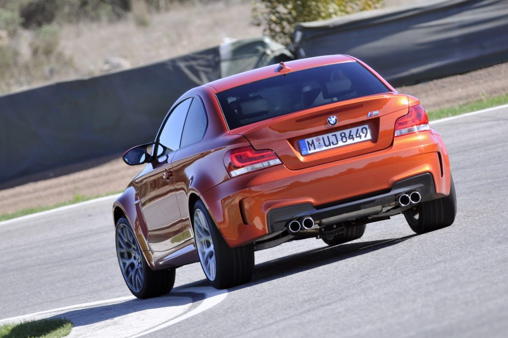 BMW 1 Series M Coupe rear cornering action