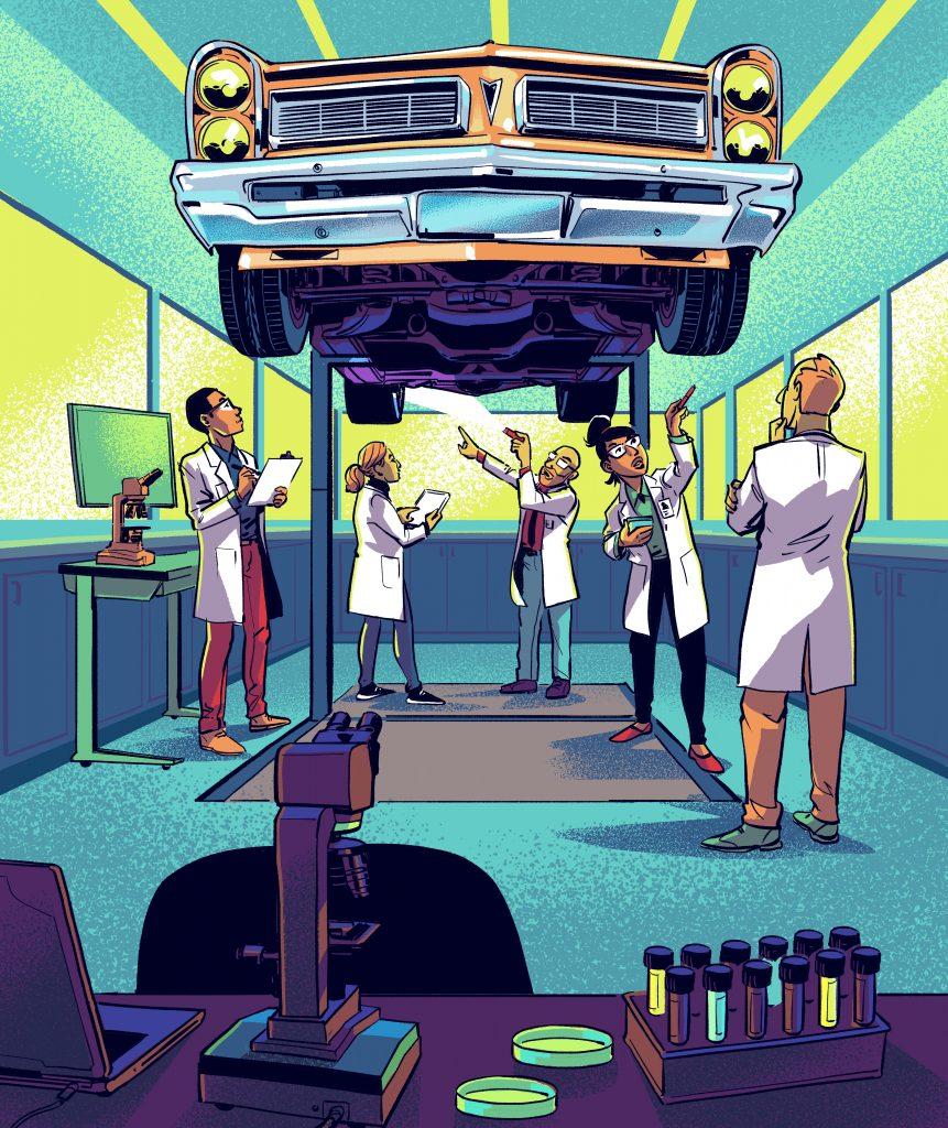 car inspection illustration