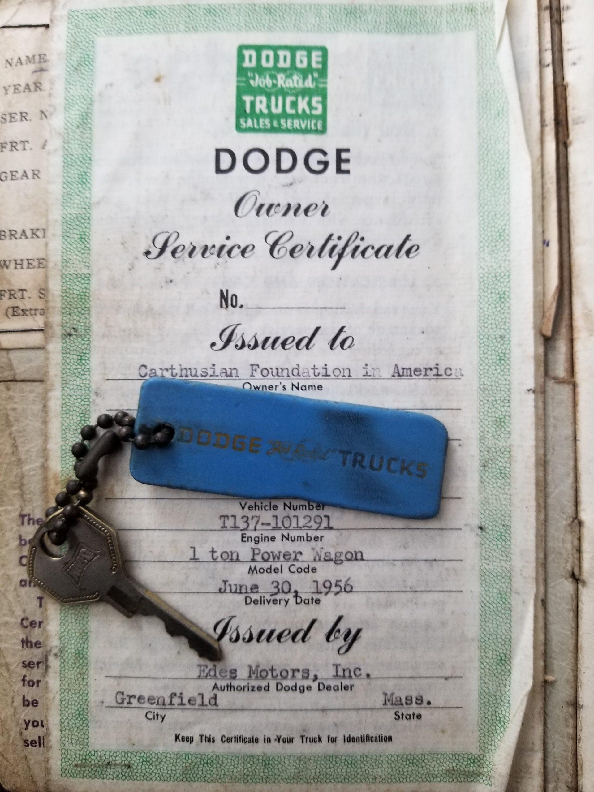 1956 Dodge Power Wagon original paperwork