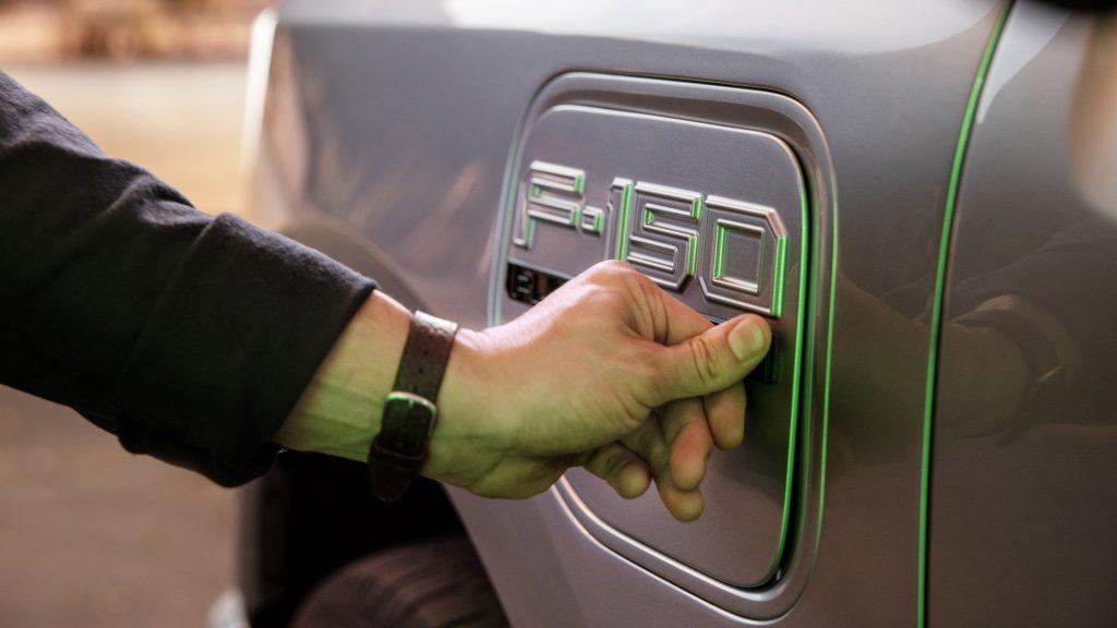 Ford F-150 Lightning EV charging port cover