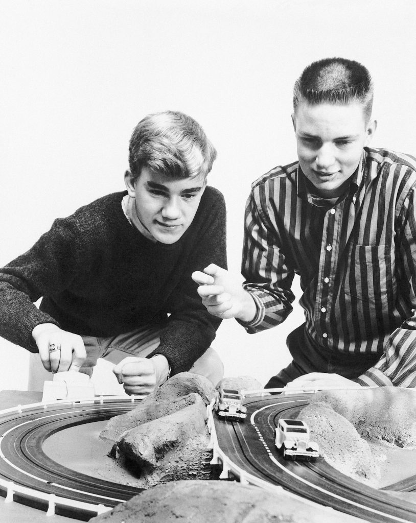 Two Young Boys Playing Slot Car '30s 40s