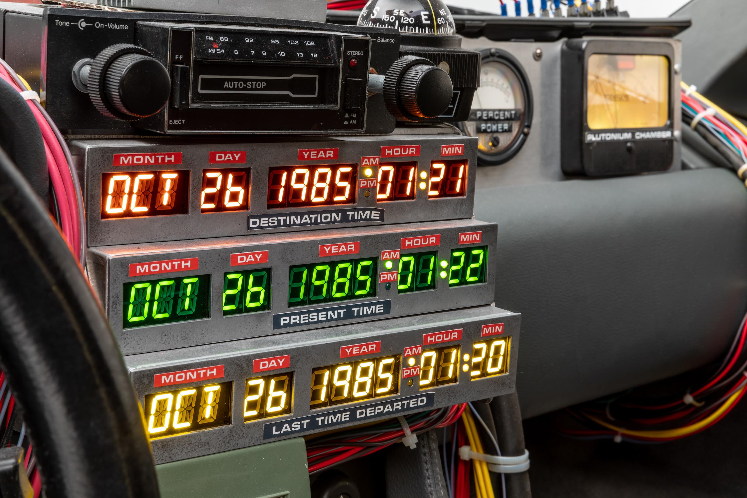 Back to Future DeLorean interior time