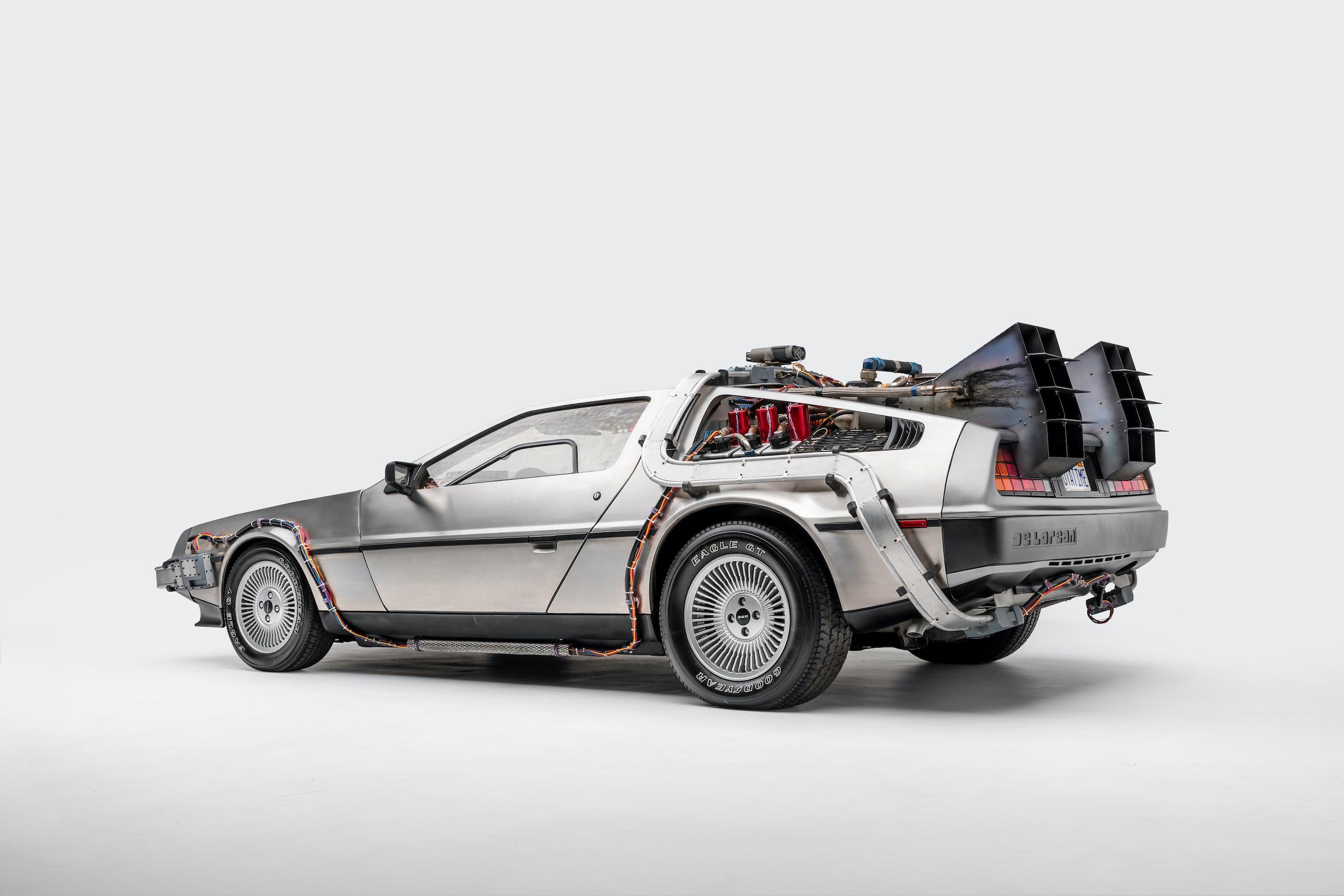 Back to Future DeLorean rear three-quarter