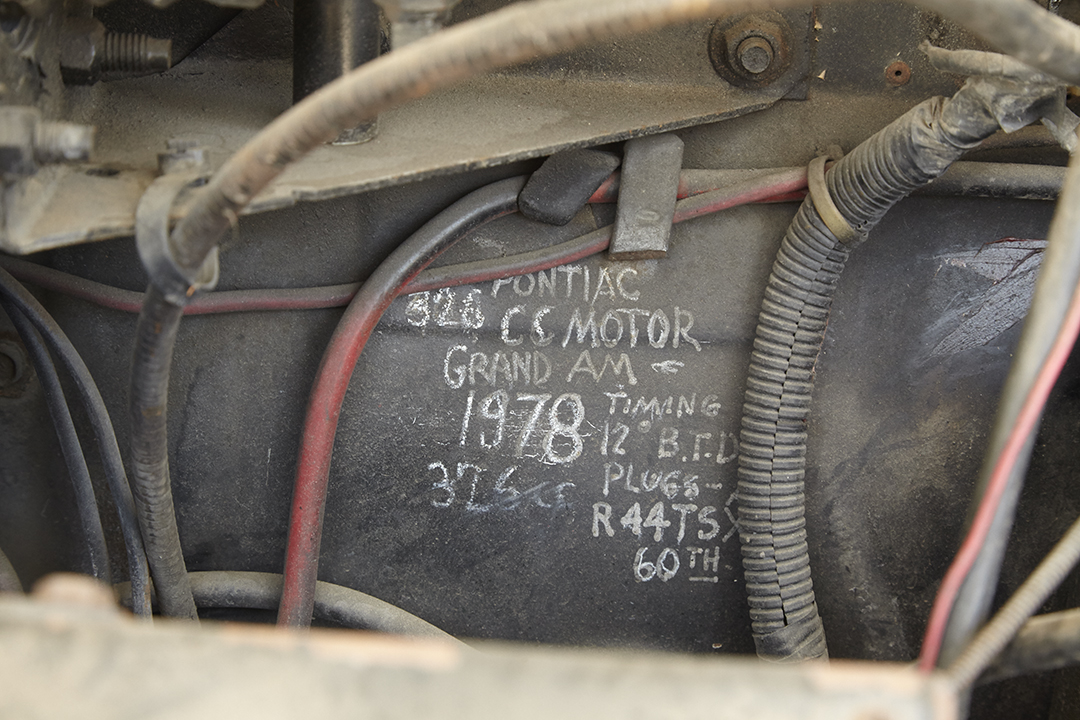Deans Machine Van engine bay writing