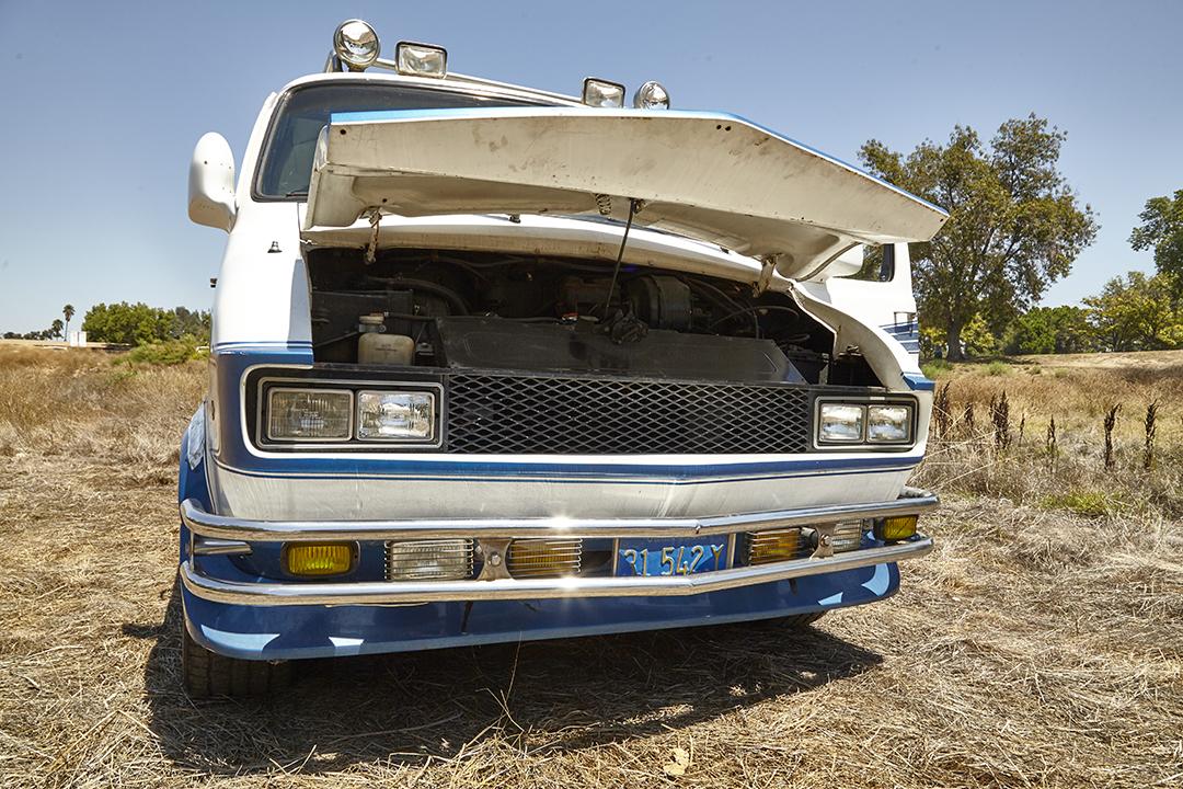 Deans Machine Van front hood up close