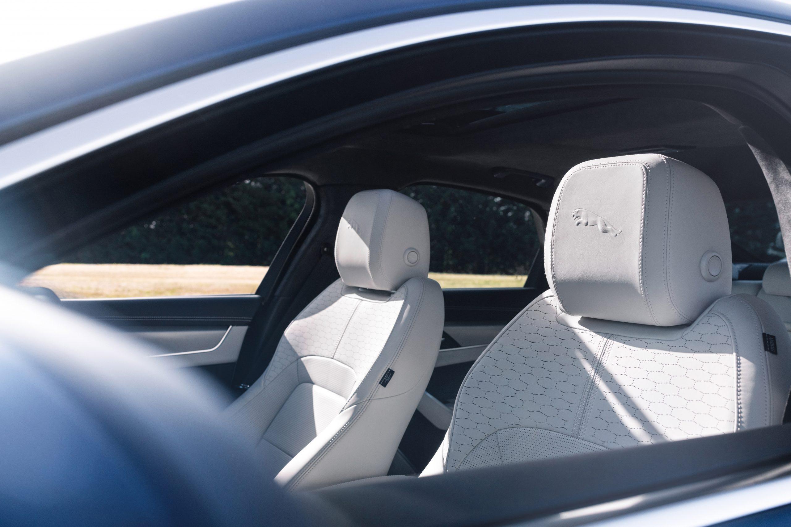 202021 Jaguar XF interior seat embossed headrest