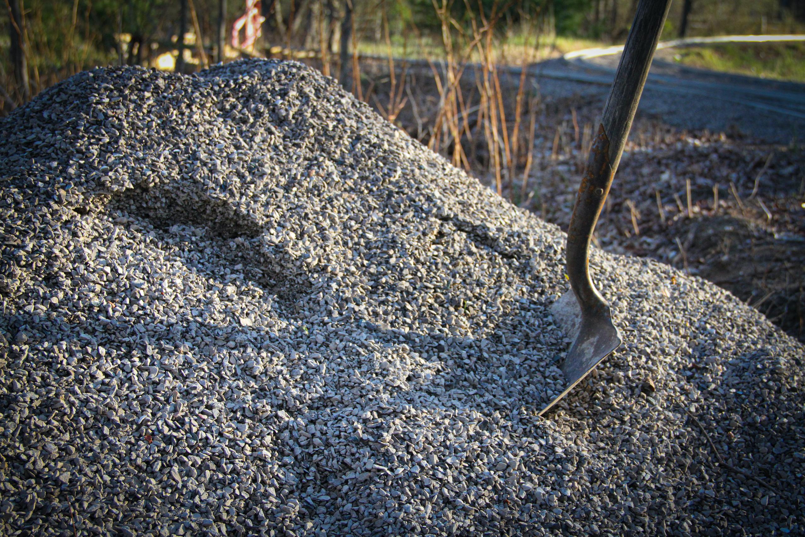 outdoor railroad gravel rock pile