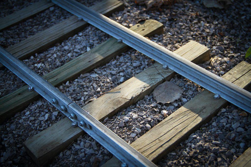 scale locomotive rails close