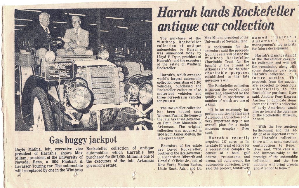 Harrah Lands Rockfeller Collection