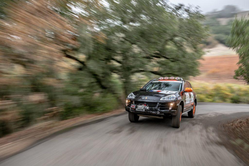 Porsche Cayenne road climb action