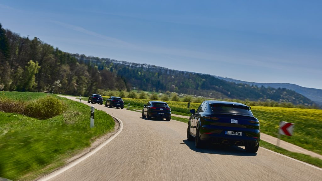 V-8 Cayenne prototype rear countryside driving line