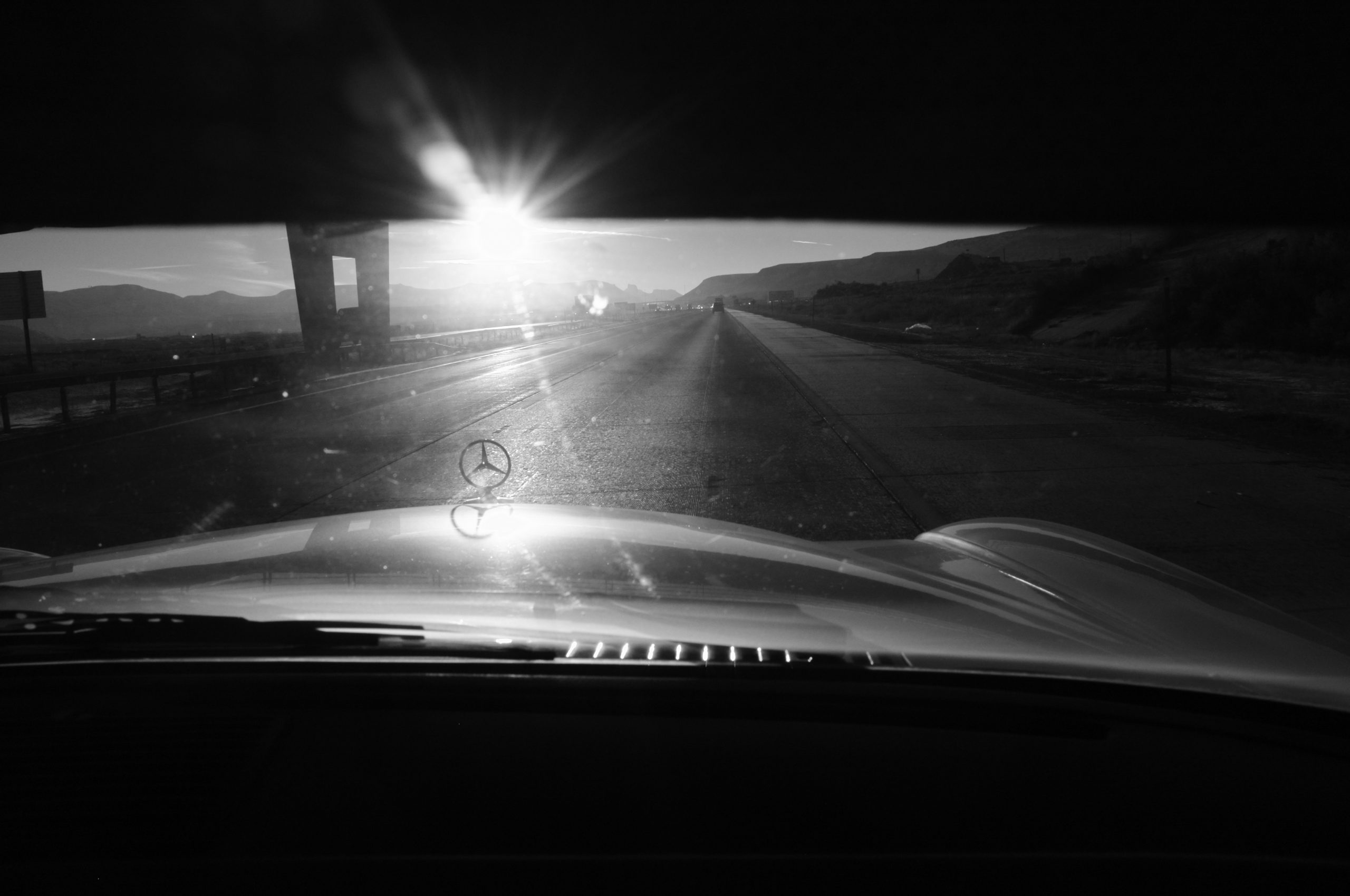 sun flare open road