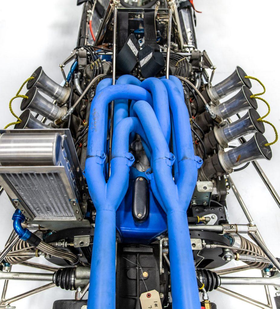 Turn 4 Restorations engine blue pipes