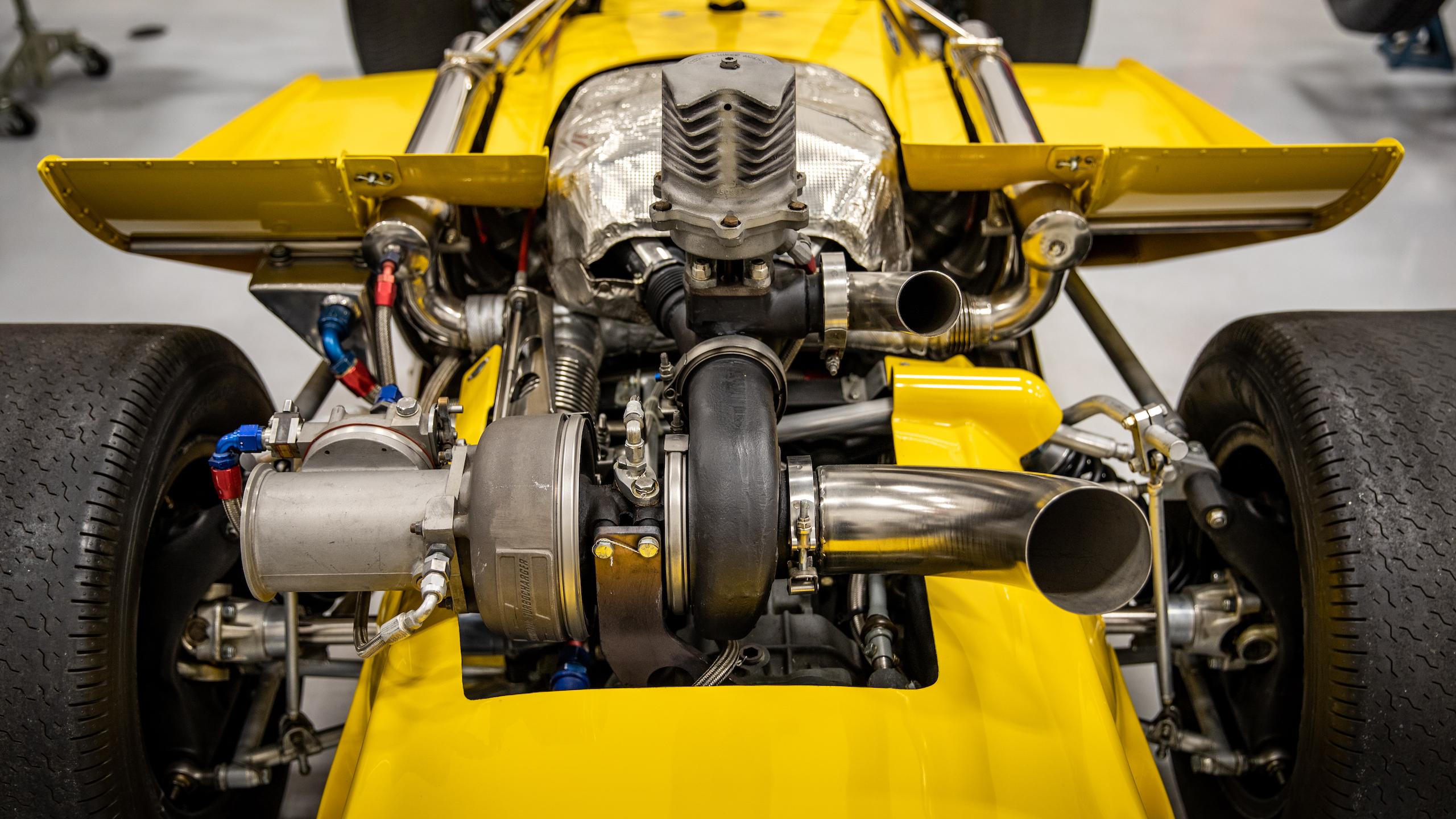 Turn 4 Restorations yellow racer engine