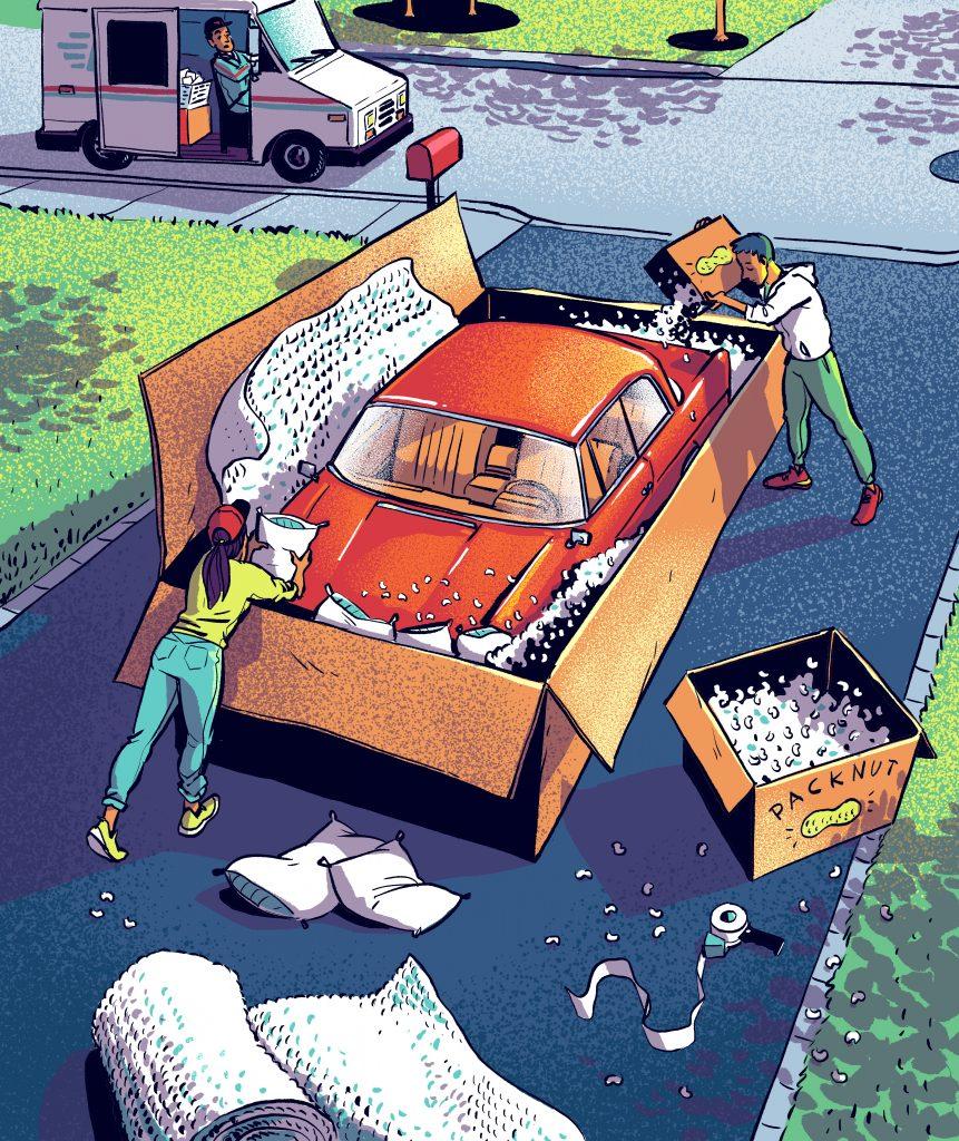 car shipping illustration