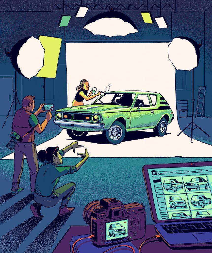 car photoshoot illustration