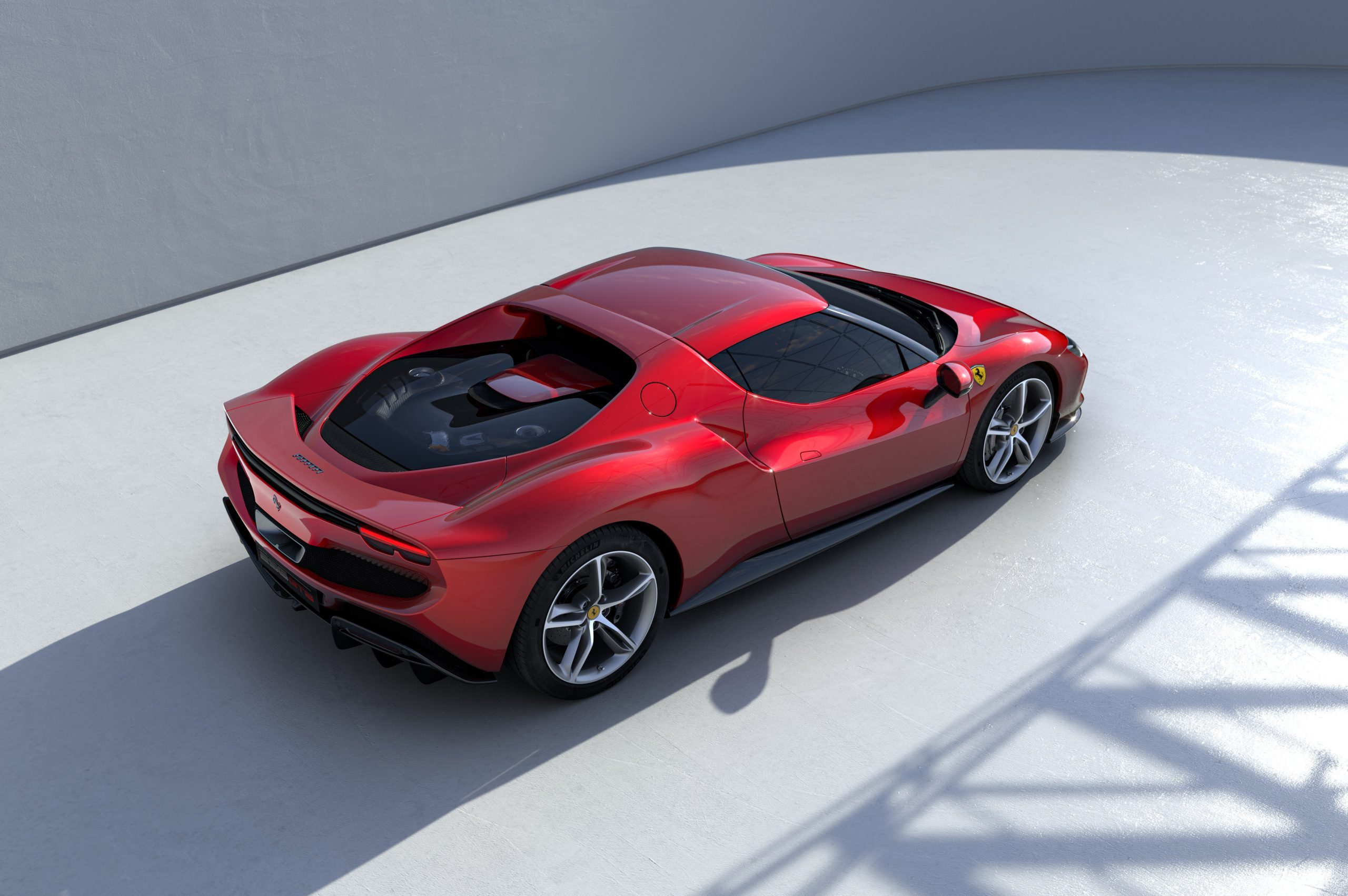 Ferrari 296 GTB overhead rear