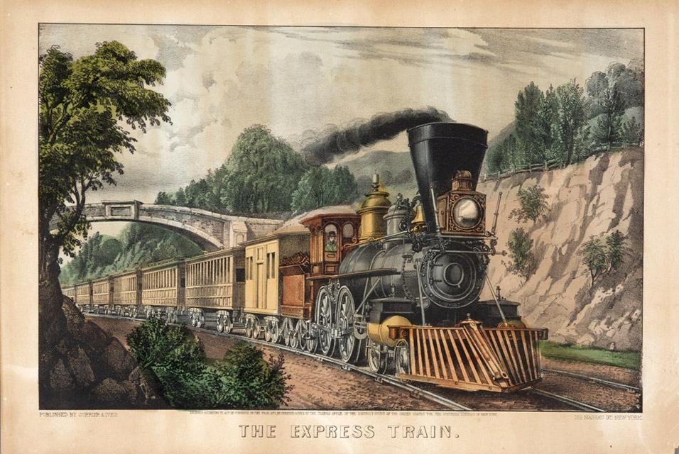 1876 Transcontinental Express train postcard