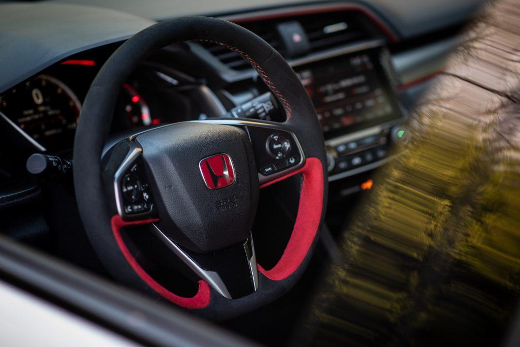 2020 Honda Civic Type R interior steering wheel detail